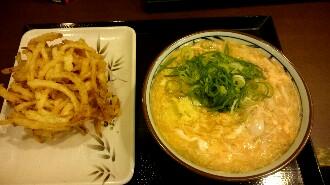 丸亀製麺 親子あんかけうどん 野菜かき揚げ